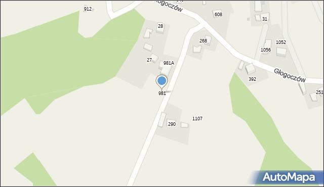 Głogoczów, Głogoczów, 981, mapa Głogoczów