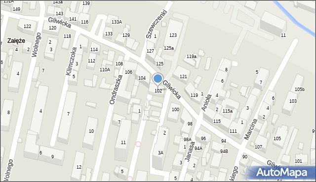 Katowice, Gliwicka, 102, mapa Katowic
