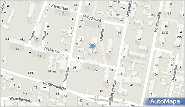 Łódź, Głucha, 13, mapa Łodzi