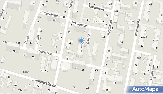 Łódź, Głucha, 9, mapa Łodzi