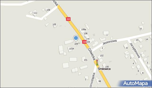 Mikołów, Gliwicka, 103, mapa Mikołów
