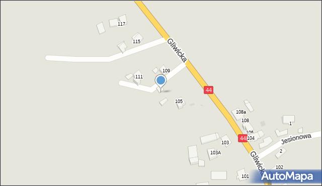 Mikołów, Gliwicka, 107a, mapa Mikołów