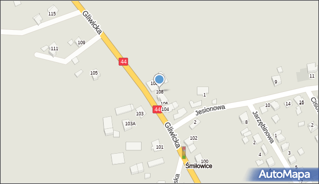 Mikołów, Gliwicka, 108, mapa Mikołów