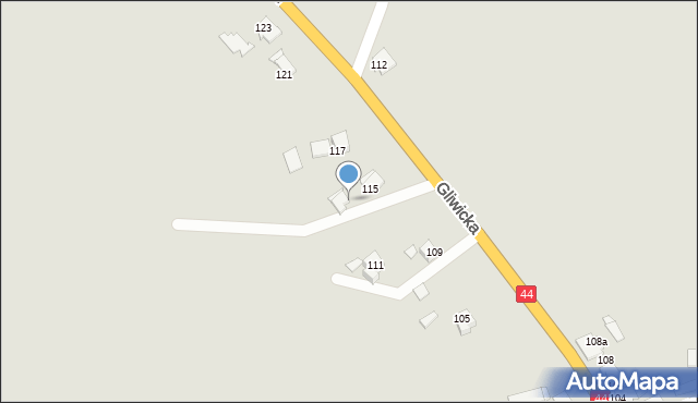 Mikołów, Gliwicka, 115A, mapa Mikołów
