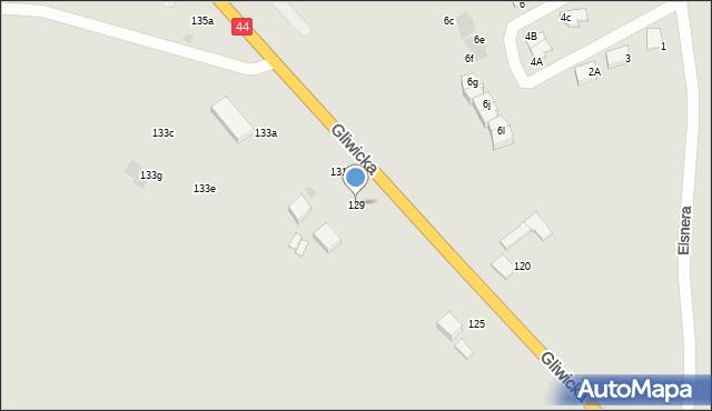 Mikołów, Gliwicka, 129, mapa Mikołów