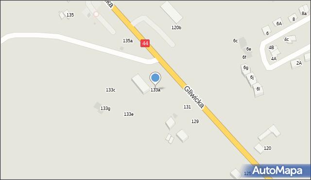 Mikołów, Gliwicka, 133a, mapa Mikołów
