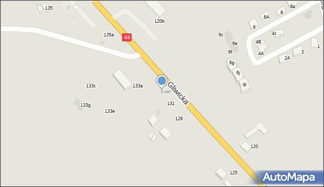 Mikołów, Gliwicka, 135a, mapa Mikołów