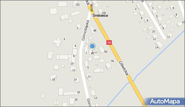 Mikołów, Gliwicka, 95, mapa Mikołów