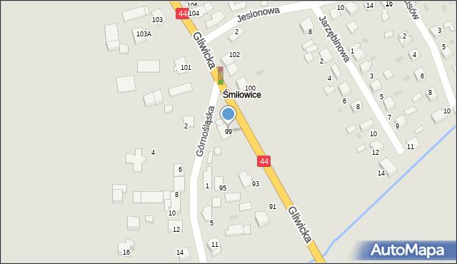 Mikołów, Gliwicka, 99, mapa Mikołów