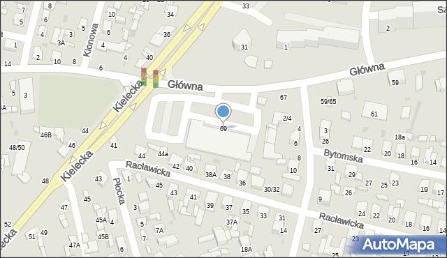 Radom, Główna, 69, mapa Radomia