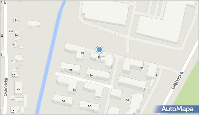 Warszawa, Głębocka, 9b, mapa Warszawy