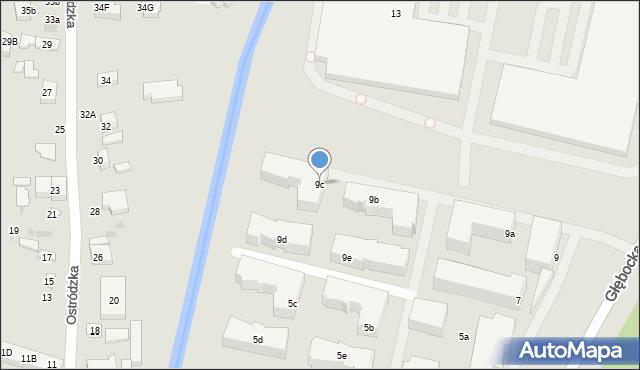 Warszawa, Głębocka, 9c, mapa Warszawy