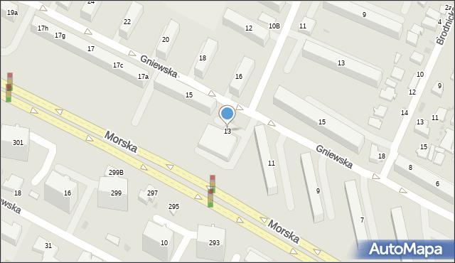 Gdynia, Gniewska, 13, mapa Gdyni