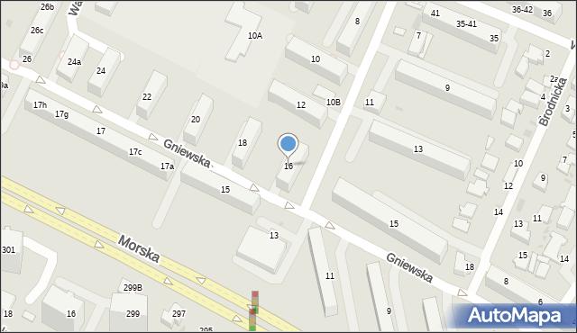 Gdynia, Gniewska, 16, mapa Gdyni