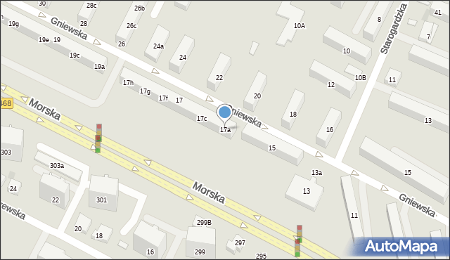 Gdynia, Gniewska, 17a, mapa Gdyni