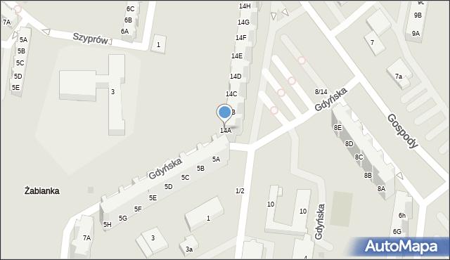 Gdańsk, Gospody, 14A, mapa Gdańska