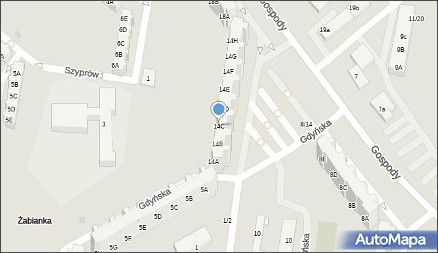 Gdańsk, Gospody, 14C, mapa Gdańska