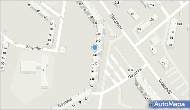 Gdańsk, Gospody, 14E, mapa Gdańska