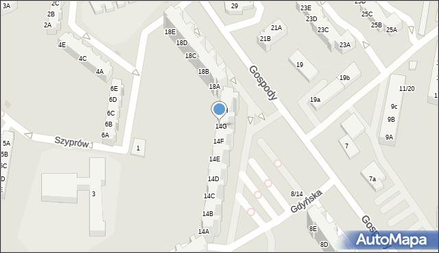 Gdańsk, Gospody, 14G, mapa Gdańska