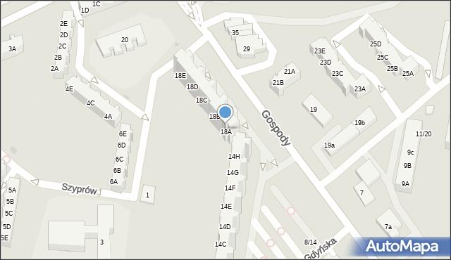 Gdańsk, Gospody, 18A, mapa Gdańska