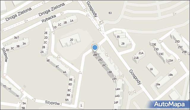 Gdańsk, Gospody, 18E, mapa Gdańska