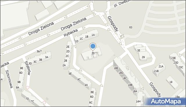 Gdańsk, Gospody, 20, mapa Gdańska