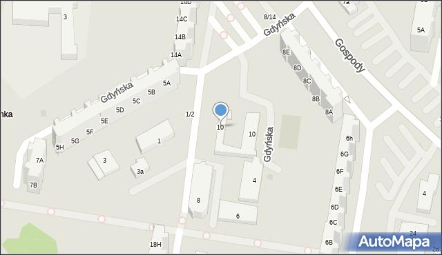 Gdańsk, Gospody, 10, mapa Gdańska