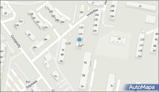 Gdańsk, Gospody, 11A, mapa Gdańska