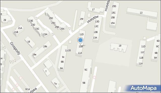 Gdańsk, Gospody, 11B, mapa Gdańska