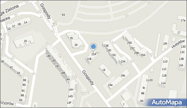 Gdańsk, Gospody, 21A, mapa Gdańska