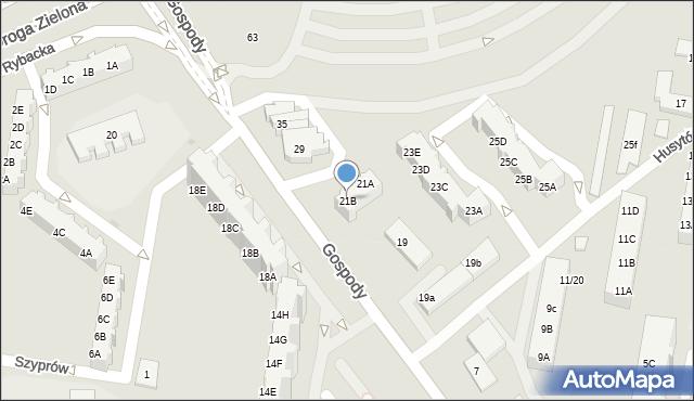 Gdańsk, Gospody, 21B, mapa Gdańska