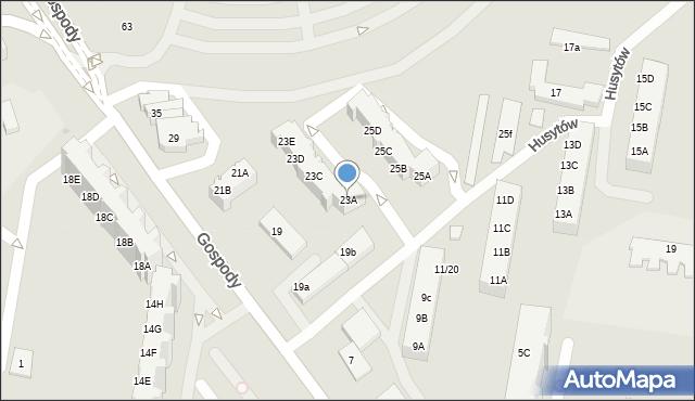 Gdańsk, Gospody, 23A, mapa Gdańska
