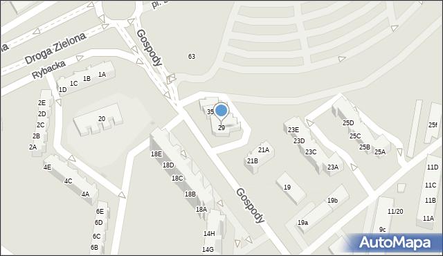 Gdańsk, Gospody, 29, mapa Gdańska