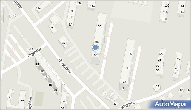 Gdańsk, Gospody, 5A, mapa Gdańska