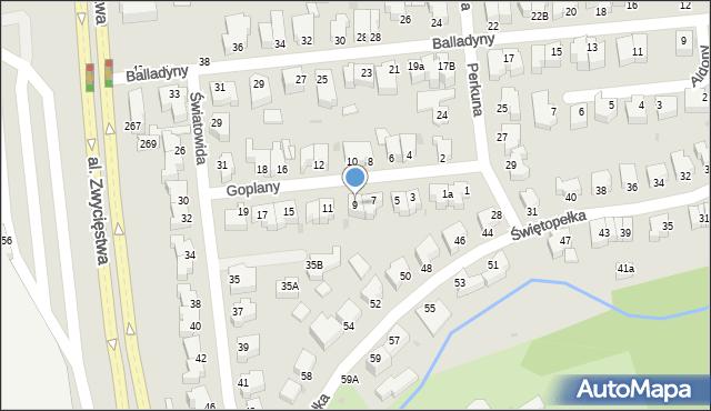 Gdynia, Goplany, 9, mapa Gdyni