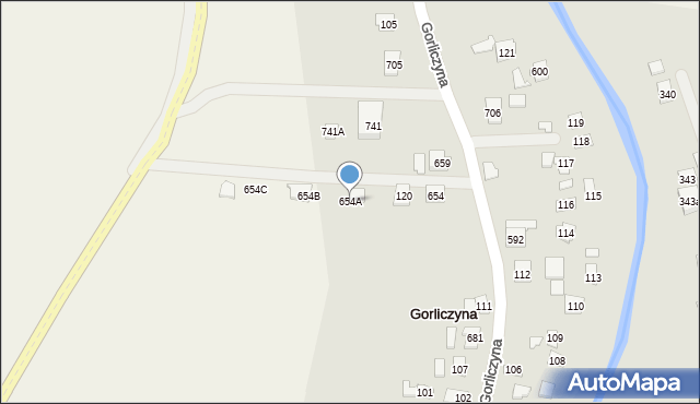 Gorliczyna, Gorliczyna, 654A, mapa Gorliczyna