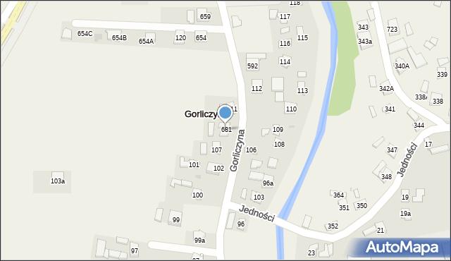 Gorliczyna, Gorliczyna, 681, mapa Gorliczyna