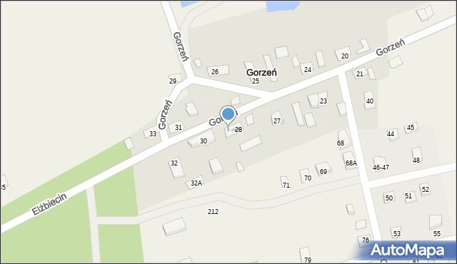 Gorzeń, Gorzeń, 28a, mapa Gorzeń