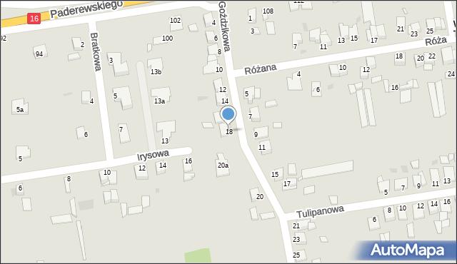 Grudziądz, Goździkowa, 18, mapa Grudziądza