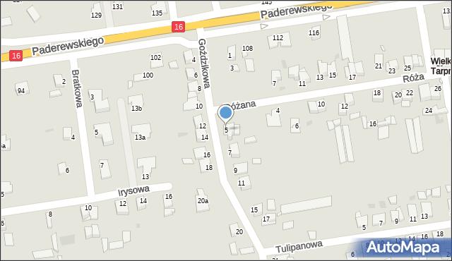 Grudziądz, Goździkowa, 5, mapa Grudziądza