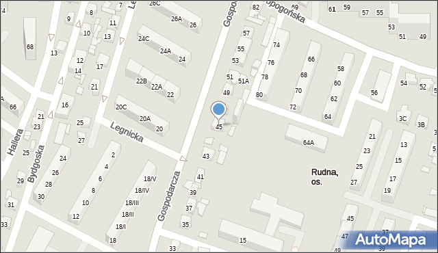 Sosnowiec, Gospodarcza, 45, mapa Sosnowca