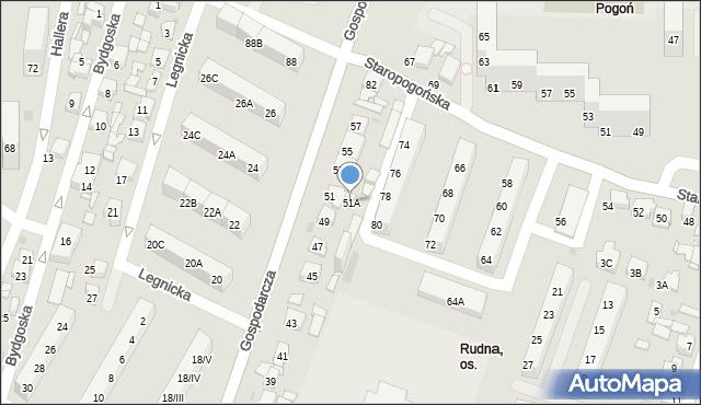 Sosnowiec, Gospodarcza, 51A, mapa Sosnowca