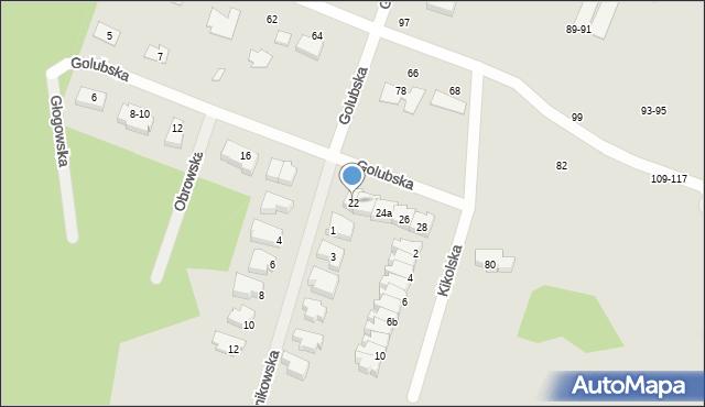 Toruń, Golubska, 22, mapa Torunia