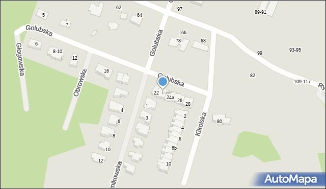 Toruń, Golubska, 24, mapa Torunia