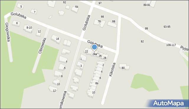 Toruń, Golubska, 24a, mapa Torunia