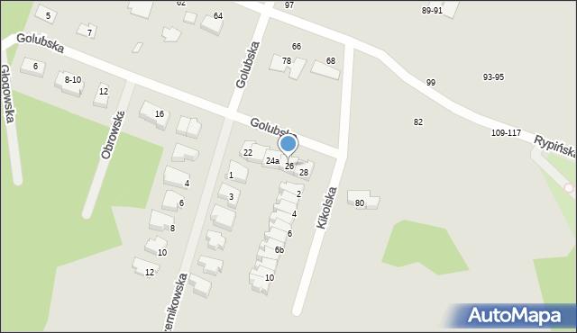 Toruń, Golubska, 26, mapa Torunia