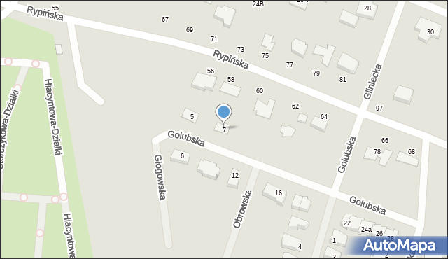 Toruń, Golubska, 7, mapa Torunia