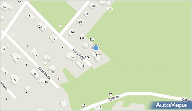 Toruń, Goplany, 12, mapa Torunia