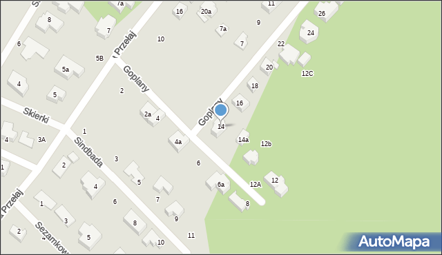 Toruń, Goplany, 14, mapa Torunia