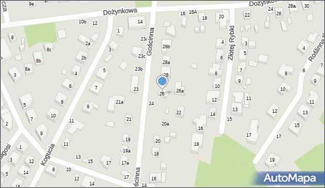 Toruń, Gościnna, 26, mapa Torunia